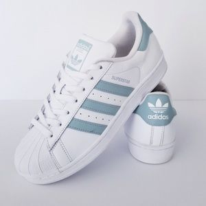 Adidas Superstar 3 stripe white & blue sneakers